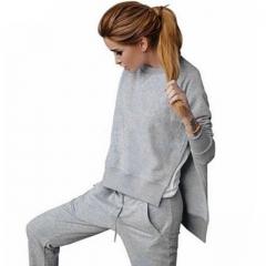 2018 Solid Drawstring Long Sleeve Tracksuit Women Hoodies Sweatshirt Sportswear Sweat Suit grey s