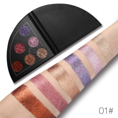 UCANBE Glitter Shimmer Fan Shaped Eyeshadow Palette Sparkle Metallic Diamond Eye Shadow Waterproof #01