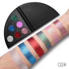 UCANBE Glitter Shimmer Fan Shaped Eyeshadow Palette Sparkle Metallic Diamond Eye Shadow Waterproof #02