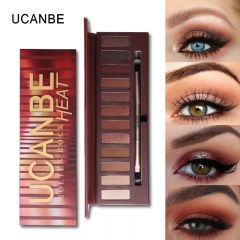 UCANBE Brand Hot Sale Molten Rock Heat Eye Shadow Makeup Palette Nude Shimmer Matte Smoky Eyeshadow as picture