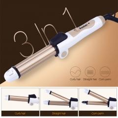 Hair Curler Heating Mini Ceramic Curling Iron + Hair Straightener Flat Iron+Corn Plate Hair Curler silver normal