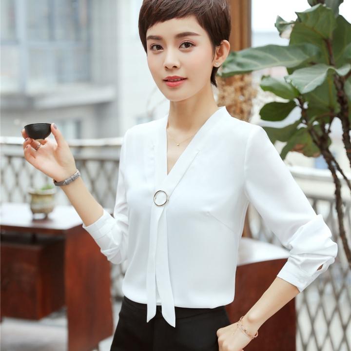 caa6ce66252 Summer loose v-neck elegant shirt women's formal blouse long sleeve blouse  ladies office work tops white s