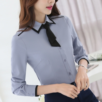 5bc0bb0cf7fd Women formal clothing long sleeve shirts OL elegant bow tie chiffon blouse  office ladies work wear blue l: Product No: 598418. Item specifics: Brand: