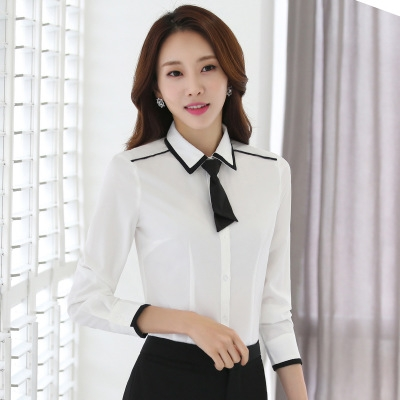 44ba54f3baa3a Women formal clothing long sleeve shirts OL elegant bow tie chiffon blouse  office ladies work wear white s
