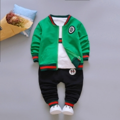 2018 Children's clothing suit Cotton products for Boys Three-piece set Spring and autumn Kids sets green 80cm