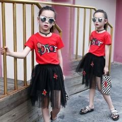 2018 Summer Kids Children's Clothing Girls Red T-shirt+ Short Skirt Set Kids Clothes Suit red 110cm