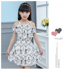 Cartoon Girl Dress Summer Children Clothing Kids Flower Dress Chiffon Princess Costume for Girl white 110cm