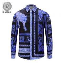 2018 Fashion 3D printed shirt Long sleeve Men's shirts Random patchwork Print Casual Shirt blue m