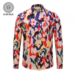 2018 Fashion 3D printed shirt Long sleeve Men's shirts Random patchwork Print Casual Shirt #01 m