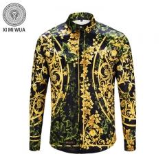 2018 Fashion 3D printed shirt Long sleeve Men's shirts Random patchwork Print Casual Shirt khaki m