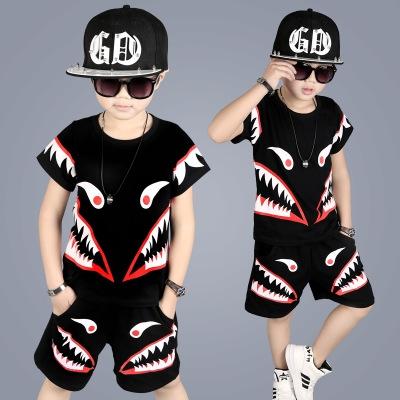 2018 Baby Boy Clothes T-shirt +Short Pants 2Pcs Cool Baby Boy Summer Clothes Boy's Clothing Set black 100cm