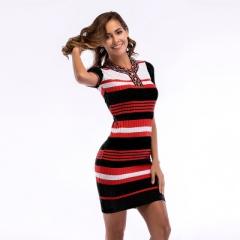 2018 Womens Stripe Dresses Sexy Club Vintage Print V Neck short Sleeve Bodycon Pencil Dress black m