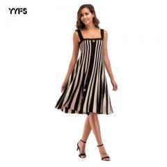 Casual Striped Beach Dress Women Sexy Sleeveless Spaghetti Strap Midi loose Summer Party Dress black m