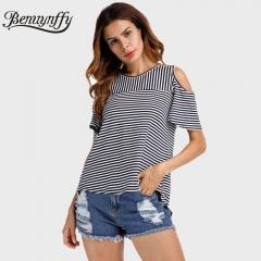 2018 T Shirt Women Tops Back Split O-Neck Striped Top Tees Female Short Sleeve Casual T-Shirts black s
