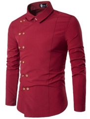 Men Shirt Double Breasted Dress Shirt Long Sleeve Slim Fit Camisa Masculina Casual Male red l