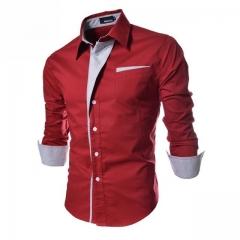 NEW Camisa Masculina Slim Fashion Men Shirt Casual Long-Sleeved Chemise Homme Plaid Camisa Masculina red m