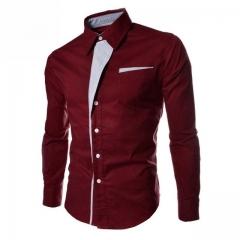 NEW Camisa Masculina Slim Fashion Men Shirt Casual Long-Sleeved Chemise Homme Plaid Camisa Masculina wine red 3xl