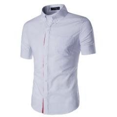 Men Shirt Designer Brand Male Short Sleeve Shirts Casual Slim Fit Black Dress Shirts Mens white m