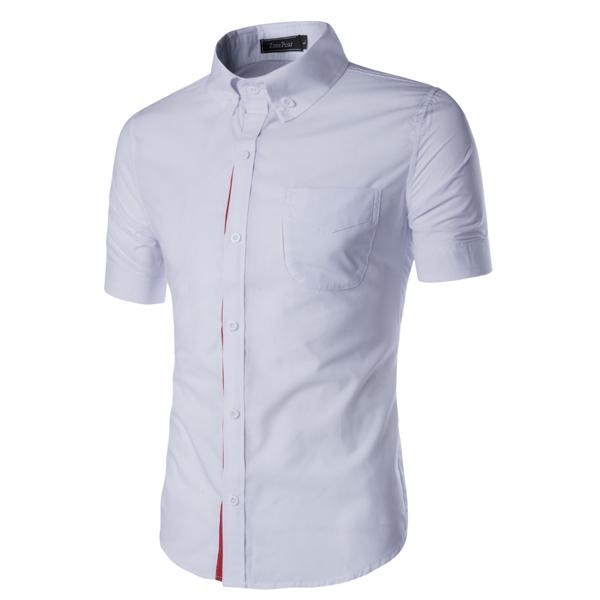 affordable price better price for promo code Men Shirt Designer Brand Male Short Sleeve Shirts Casual Slim Fit Black  Dress Shirts Mens white m