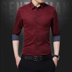 Mens Dress Shirts Men Shirt Long Sleeve Geometric Print Party Shirt Handsome Fashion Blouse for Man red m
