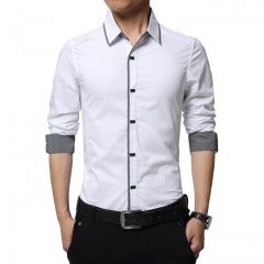 Cotton Dress Shirts High Quality Mens Casual Shirt Casual Men Plus Size 4XL Slim Fit Social Shirts white m
