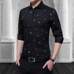Cotton Men Print Shirt Long Sleeve Boat Print Formal Designer Shirt Squared Collar Men Cloth black m