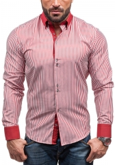 Brand 2018  Fashion Male Shirt Long-Sleeves Tops Simple Stripes Mens Dress Shirts Slim Men Shirt red m