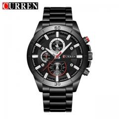 Mens Watches Curren Luxury Gold Black Steel Quartz Watch Men Fashion Casual Business Wristwatches balck