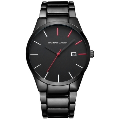 Male Classical Stainless Steel Band Quartz Wrist Watchs Fashion Date Vacuum Metallizing Black(Red/Silver)