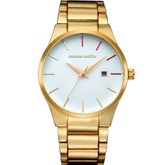 Male Classical Stainless Steel Band Quartz Wrist Watchs Fashion Date Vacuum Metallizing Gold(Gold/Red)