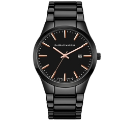 Delicately Time Date Quartz Watch Stainless Steel Band Wrist Watch Men Black Black(Rose Gold)