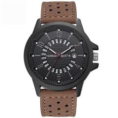 Men Dress Wrist Watch Calendar Quartz Watch Leather Strap Sport Casual Watch Orange