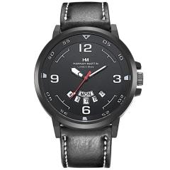 Casual Sport Men Watch Leather Band Dress Wrist Watch Quartz Calendar Black