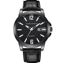 Men Watch Sport Leather Casual Quartz Calendar Fashion Business Watch Black(Silver)