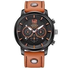 Men Leisure Sports Quartz Watch Upscale Business Man watch Leather Strap Decorative Sub-dials Dark Orange