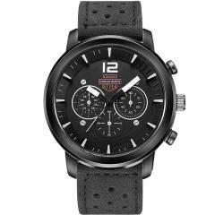 Men Leisure Sports Quartz Watch Upscale Business Man watch Leather Strap Decorative Sub-dials Black(silver)