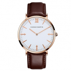 Men Watch Quartz Sports Watch Belt Men's Clock Watch Casual Leather Brown(Rose Gold)