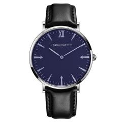 Men Watch Quartz Sports Watch Belt Men's Clock Watch Casual Leather Black(Blue/Silver)