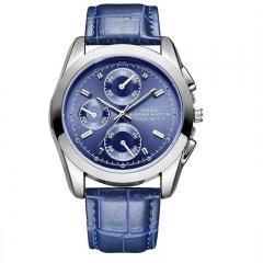Luminous Watch Sport Wrist Quartz Watch Casual Movement Leather Style Blue(blue)