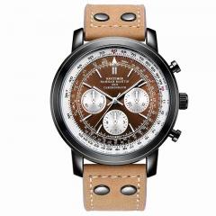 Subdials Men Watch Casual Sport Leather Strap Wrist Watch Quartz Dial Movemnet Needle Brown(Brown)