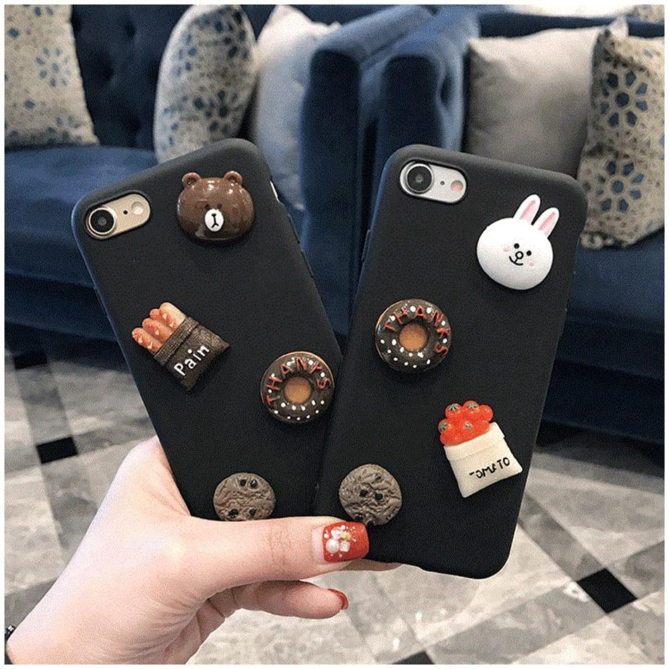 size 40 7c885 3865f Axbety Kawaii DIY Cartoon Cute Bunny Cony Bear Case For iPhone X 5 5S 6 6S  7 8 Plus Case A1 for i6 6s
