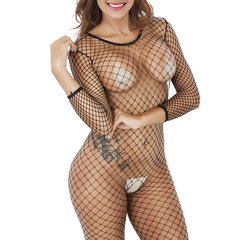 Women's Crotchless Fishnet Bodystocking Sexy Lingerie High Elasticity Long Sleeve Tights Bodysuit Black One Size
