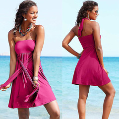 Women's Multi-functional Maxi Dress Pure Color Casual Beach Dresses Halter Off Shoulder Padded Skirt rose red S