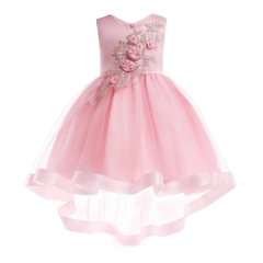 Girl Dress Party 2018 Children Dress Elegant Baby Girl Dress Children Dress for Carnival Party pink 100#