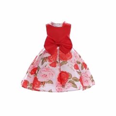 Baby dress party dress fashionable dress hot sale high class children clothes for wedding chinese red 100#