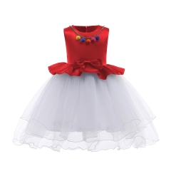 Trendy Girl Dress 2018 New Fashion Children Dress Hot sale High-class Dress Exquisite Dress red 100#