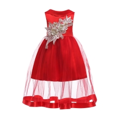 2018 Fashionable Dress Girl Dress Children Clothes Baby Clothes Christmas Dress New Year Dress red 100#