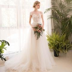 New Fashionable Off Shoulder Sleeveless Wedding Dress Goddess Stylish Tailored Dress white xl