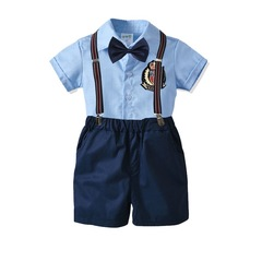 Boy clothes cute suits for boy children with suspenders and bow knot four pieces Sky blue+diamond blue 80cm