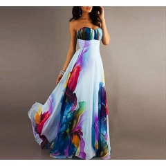 Women's Off shoulder Colourful Chiffon Long dress Sweet Summer Holiday Beach K180001 white l